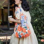 帆布包 小眾原創單肩斜挎帆布包女夏文藝復古大容量購物袋上課通勤托特包