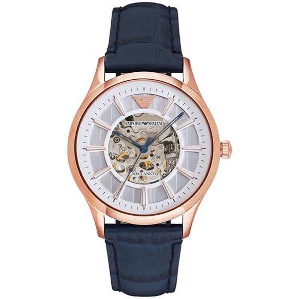 【台南 時代鐘錶 Emporio Armani】亞曼尼 AR1947 典雅品味透視機械腕錶 玫瑰金/深藍 43mm 公司貨