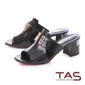 TAS金屬字母側鏤空方頭粗跟涼拖鞋-經典黑