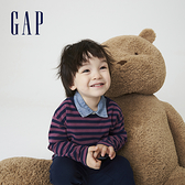 Gap男幼童 純棉寬鬆條紋長袖T恤 754580-紫藍條紋