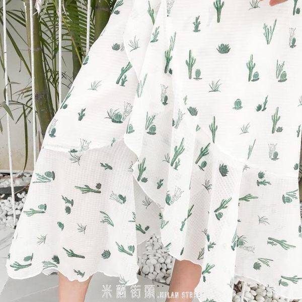 19春夏雪紡開叉仙人掌碎花波西米亞顯瘦海邊度假沙灘裙仙氣半身裙 「米蘭街頭」