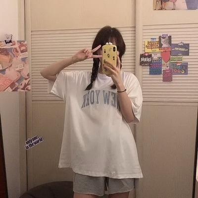 (下殺)彈性棉短袖t恤女中長版刺繡字母【08SG06382】