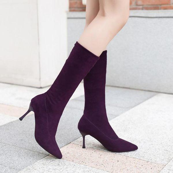 短靴女細跟靴子2019夏 款尖頭中筒彈力靴瘦腿顯瘦百搭性感高跟鞋 藍嵐