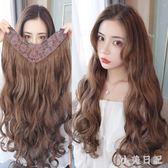 假髮片 女長卷髮大波浪一片式長直髮U型髮套網紅無痕頭頂接髮補髮 KV3290 『小美日記』