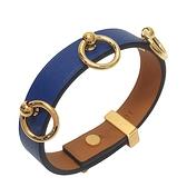 HERMES 愛馬仕 7T Bleu Electrique閃電藍牛皮飾金環手環 A刻金釦 T2 Mini Dog