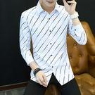 夏季白色長袖襯衫男士韓版修身青少年潮流襯衣潮男裝格子衫寸衫男『潮流世家』