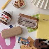買2送1 復古眼鏡盒文藝深淺色木質感紋路防壓便攜墨鏡盒【左岸男裝】