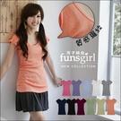 長版T恤 多色馬卡龍圓領羅紋素面上衣-11色~funsgirl芳子時尚