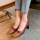 大尺碼真皮女鞋34-43 2021新款時尚百搭頭層牛皮拼色方頭中跟鞋 OL工作鞋 通勤鞋 ~2色