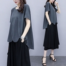 垂墜風不規折下襬套裝(上衣+長褲)-大尺碼 獨具衣格 J3698