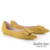 Keeley Ann經典素面 立體方形緞帶全真皮包鞋(黃色) -Ann系列
