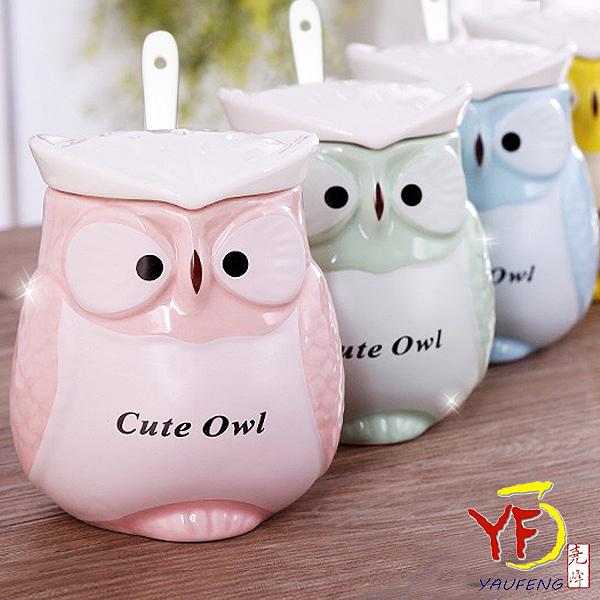 [堯峰陶瓷免運]馬克杯系列 馬卡龍色貓頭鷹造型蓋杯 單入 含上蓋湯匙 | 現貨