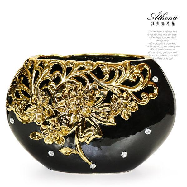【雅典娜家飾】金色立體浮雕花卉鏤空水鑽花器-FB35