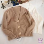 針織上衣 甜美毛衣外套女單排扣V領開衫毛絨絨針織衫寬鬆外穿學生潮