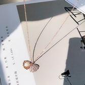 高檔扇貝殼珍珠微鑲鉆鎖骨鍊項鍊簡約氣質保色女禮物頸鍊禮物個性【卡米優品】