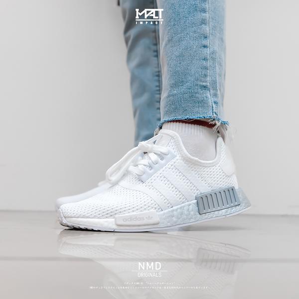 IMPACT Adidas NMD R1 Boost 白 灰 銀 輕量 編織 漸層 百搭 女鞋 休閒 FU9350