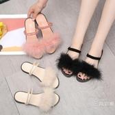 涼鞋韓版毛毛拖鞋女外穿2019新款夏季裝平底時尚社會網紅百搭一字涼拖潮