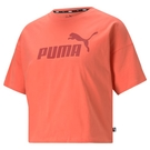 PUMA Ess 女裝 短袖 短版 落肩 純棉 休閒 健身 印花 橘 歐規【運動世界】58686624