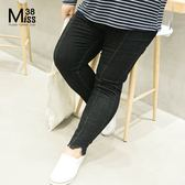 Miss38-(現貨)【A08155】大尺碼牛仔褲 褲腳開叉 顯瘦黑色 加大碼 彈力中高腰 長褲 小腳褲 -中大尺碼