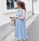 孕婦洋裝/連身裙韓版中長款孕婦裝寬鬆大碼棉麻無袖孕婦長裙   蓓娜衣都