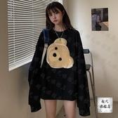 情侶T ins超火小熊長袖連帽T恤女秋季新款韓版寬鬆圓領套頭情侶裝上衣-快速出貨