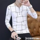 港士博2018秋季長袖男t恤條紋v領修身打底衫時尚休閒上衣服潮男裝 印象家品
