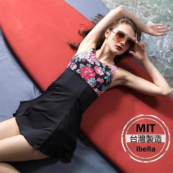 現貨 加大 連身泳裝MIT台灣製造花朵印花裙式連身泳衣(附帽)【36-66-8H19132A-19】ibella 艾貝拉
