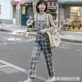 冬格子吊帶褲女韓版寬鬆年新款時尚工裝套裝直筒休閒闊腿秋季 聖誕節全館免運