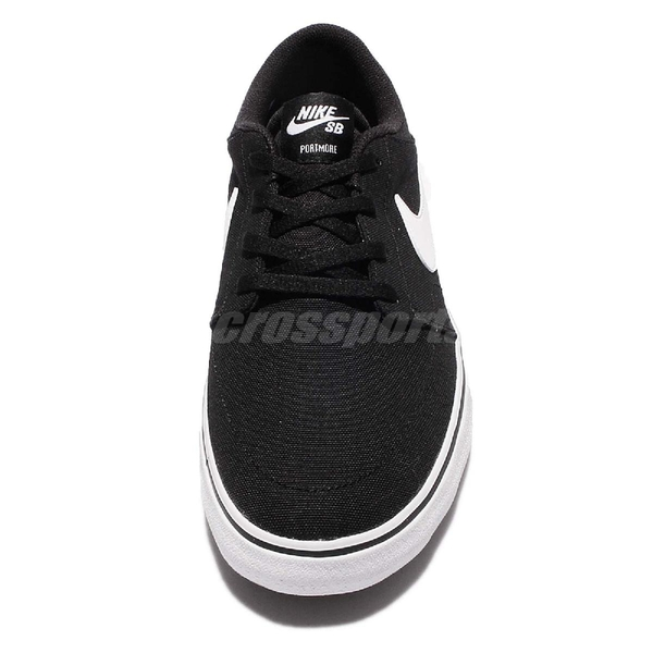 Nike 滑板鞋 SB Portmore II Solar CNVS 黑 白 運動鞋 基本款 黑白 男鞋 女鞋 情侶鞋 【ACS】 880268-010