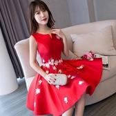 婚紗禮服 新娘敬酒服短款蕾絲紅色回門訂婚結婚晚禮服婚禮連身裙