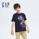 Gap男童 Gap x Marvel 漫威系列純棉短袖T恤 696917-海軍藍