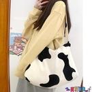 帆布包 日韓黑白奶牛紋可愛燈芯絨側背斜背包帆布書包女寶貝計畫 上新