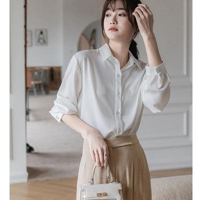 長袖襯衫601#白襯衫女2021年春秋設計感上衣韓版通勤垂感長袖上衣T238A快時尚
