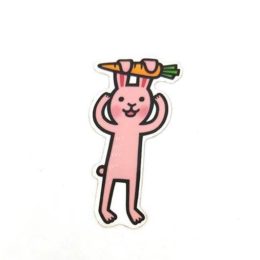 【koufuku好物店】呱啊嘎嘎單張貼紙-紅蘿蔔小兔子