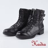 kadia.街頭率性魅力雙扣綁帶中筒軍靴(8702-91黑色)