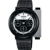 SEIKO 精工 X GIUGIARO 限量科幻計時碼錶-銀x黑/43mm 7T12-0BP0D(SCED041J)