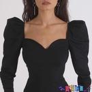 泡泡袖上衣 歐美氣質方領上衣女春ins宮廷風修身內搭顯瘦法式性感低胸長袖t恤寶貝計畫 上新