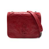 【台中米蘭站】全新品 YSL NIKI 金屬logo霧銀鍊牛皮斜背包(583103 -紅)