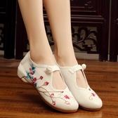 老北京布鞋 花蕾刺繡繡花鞋低跟搭扣休閒單鞋女漢服配鞋子 超值價