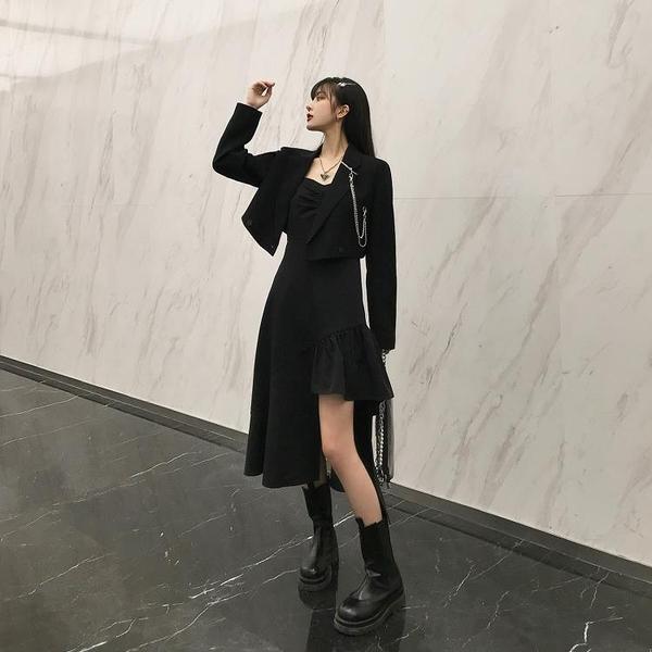 麗哥潮牌2021早春新款抹胸吊帶連衣裙女中長款小黑裙不規則西裝裙 新品特惠 七折下殺