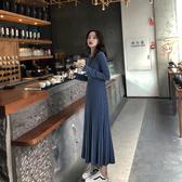 洋裝 秋裝2020新款法式複古少女收腰針織洋裝過膝毛衣裙氣質修身長裙