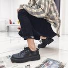 皮鞋男韓版潮流休閒透氣鞋子男士英倫百搭黑色小皮鞋 【快速出貨】