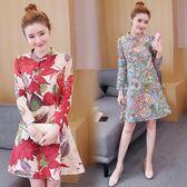 改良式旗袍 小個子女裝顯高大碼長袖棉麻改良旗袍洋裝 QG8606『Bad boy時尚』