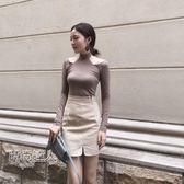 性感露肩掛脖長袖T恤時尚打底衫女裝學生上衣熱賣夯款【全館85折】