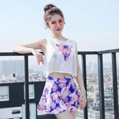 韓版游泳衣女分體裙式小胸聚攏比基尼三件套保守遮肚顯瘦學生溫泉均一價599中秋節促銷