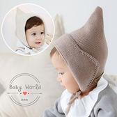 帽子 嬰兒 寶寶 尖尖 精靈帽 綁帶 護耳 毛線帽