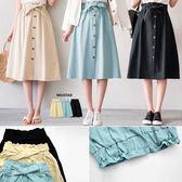 MIUSTAR 韓版花苞寬鬆緊附綁帶排釦斜紋長裙(共3色)【NF3435RZ】預購