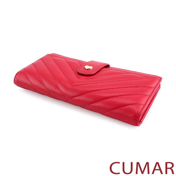 CUMAR V字車線流蘇拉鍊長夾-玫紅色