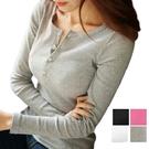 EASON SHOP(GW8220)領口排釦彈性合身針織上衣 長袖 貼身 羅紋 圓領 長袖t恤 內搭 外穿 灰色 粉色 白色