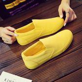 春季情侶帆布鞋女鞋平底小白鞋一腳蹬懶人街頭布鞋黃色女鞋子 薔薇時尚